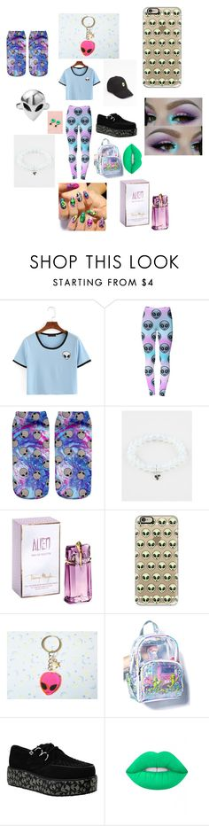 """Aliens"" by hanpeto ❤ liked on Polyvore featuring WithChic, Disturbia, Full Tilt, Thierry Mugler, Casetify and Lime Crime"