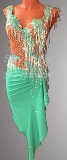 Ballroom Latin Ramba Cha Cha Dance Dress US 8 UK 10 Skin Green Beads Fringing