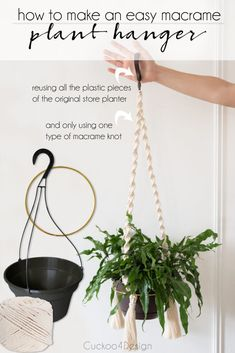 Home Decoration Ideas Minimalist super easy macrame planter using only one knot Macrame Hanging Planter, Macrame Plant Hangers, Hanging Planters, Plant Hanger Diy, Hanging Succulents, Hanging Flower Pots, Indoor Planters, Diy Planters, Plants Indoor