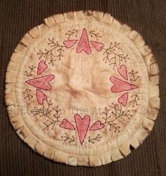 Primitive 'Lovely Berries' Candle Mat  Ready by ButtonsInTheAttic