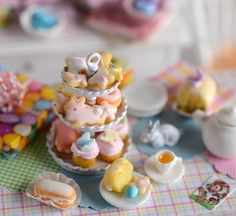 Miniature Shabby Easter Dessert Tier with Tea by CuteinMiniature