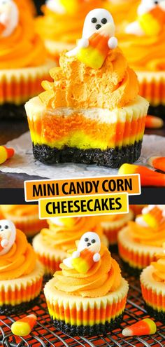 Mini Candy Corn Cheesecakes – the perfect Halloween dessert and treat! Easy to m… Mini Candy Corn Cheesecakes – the Dessert Party, Party Desserts, Quick Dessert, Dessert Healthy, Dessert Halloween, Halloween Food For Party, Halloween Foods, Halloween Candy, Halloween Dessert Recipes