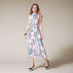 b7ce66d9524 Talever Women s Brand Dress Sexy Sleeveless Backless High Slit Pink Floral  Dress S 1 Piece   piece