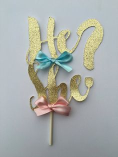 Gender Reveal Cake Topper/ Blue or Pink Cake Topper/ He or She Cake Topper/ Gender Reveal Decor/ Gender Reveal Party Decorations Gender Reveal Banner, Confetti Gender Reveal, Gender Reveal Party Decorations, Baby Gender Reveal Party, Gender Party, Glitter Cards, Reveal Parties, New Baby Products, Baby Shower Parties
