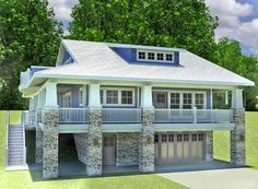 A gorgeous covered porch wraps around three sides of this captivating Craftsman house plan with a 2 car drive under garage.
