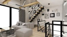 interior design ~ two-storey apartment in Krakow with mezzanine Krakow, Divider, Stairs, Behance, Interior Design, Room, Furniture, Ideas, Home Decor