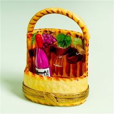 Limoges Wine Basket with Bottle, Glass, and Cork Box.