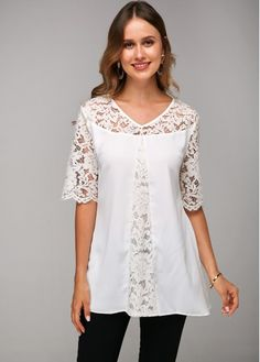 Trendy Tops For Women, Lace Knitting, Black Sequins, White Long Sleeve, Latest Fashion For Women, Half Sleeves, Fashion Dresses, Women's Fashion, White Lace