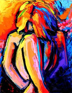 Abstract Nude - Figure Painting - Palette knife - Female impasto oil on canvas art by Aja 14x18 inches Femme 390