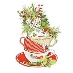 Tea Cups Will Holly Christmas Clip Art Pinterest