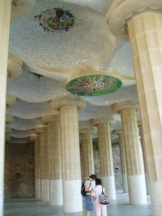 Hall of Columns, Guell Park, Barcelona Movement In Architecture, Architecture Design, World's Most Beautiful, Beautiful World, Barcelona Catalonia, Antoni Gaudi, Famous Architects, Amazing Buildings, Ornaments Design