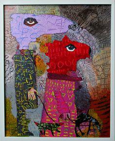 Elke Trittel acrylic,collage on wood 40x50cm
