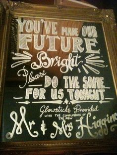 Glow sticks  complimentary of the new mr and mrs. Wedding reception evening do sign personalised by Brook valentine design