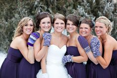 The mittens!!!  Plum bridesmaid dresses for winter wedding!