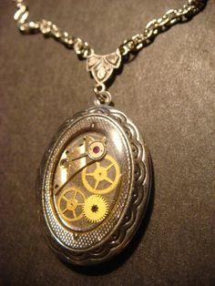 Steampunk Sprocket  Gear and Watch Part  Locket by ClockworkAlley, $22.00