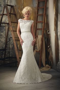 Mori Lee  TAGS:Embroidered, Fishtail, Floor-length, Floral, Short sleeves, Train, White, Mori Lee, Lace, Retro (Vintage)