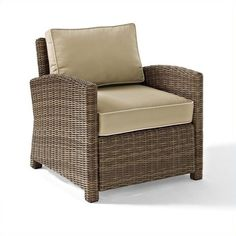 Crosley Bradenton Outdoor Wicker Arm Chair with Sand Cushions ($419) ❤ liked on Polyvore featuring home, outdoors, patio furniture, outdoor chairs, outdoor conversation sets, outdoor love seat, outdoor wicker loveseat, outdoor wicker conversation sets and outdoor wicker patio furniture