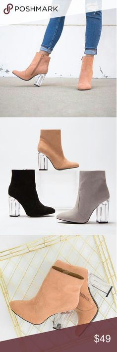 """//The Lulu// Lucite heel Blush pink booties Brand New Never been worn Comes in original box No trades!! Price is firm!! Many more sizes Available? True to size 4"""" inch heel Shoes Ankle Boots & Booties"""