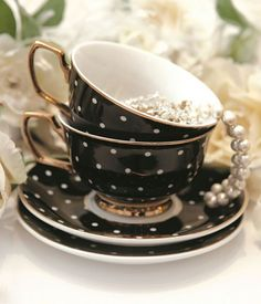 Black tea cup and saucer with white polka dots and gold gilded handle. Vintage Tea, Teapots And Cups, Teacups, China Tea Cups, My Cup Of Tea, Tea Cup Saucer, High Tea, Afternoon Tea, Tea Time