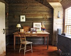 A Martha's Vineyard Study: In a Martha's Vineyard home, the walls and floors of the second-floor study are of barn wood, and the desk, chair, and chest of drawers are from various flea markets. Office Decor, Home Office, Rustic Office, Cabin Office, Office Nook, Interior Office, Small Office, Nautical Theme Decor, Nautical Design