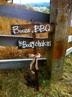 BOOZE BBQ BOOTY Shakin Distressed Rustic Wooden Wedding Reception Decoration Sign with Burlap Bow on Etsy, $33.00
