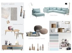 Planche de tendance pour l'aménagement et la décoration d'un salon.