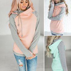 Price 14.93 Elegant 2017 Autumn Hooeded Sweatshirt Women Patchwork Long  Sleeve Pullover Streetwear Pocket Cotton Blend 394572f21