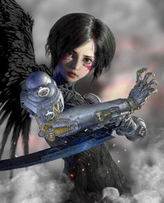 Battle Angel Alita, Painting Of Girl, Cyberpunk Art, Fairy Tail Anime, Cool Places To Visit, Art Sketches, Thor, Fantasy Art, Anime Art