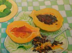 papaya on green check (available from the Village Gallery in Lahaina)