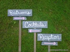 Wedding Signs Reception Sign Cocktail Sign. Parking Sign. Direction Signs Outdoor Wedding Decorations Rustic Wedding Sign Restroom Sign. $95.00, via Etsy.