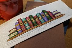 Cross Stitch Pattern / Colored Row of Books Bookmark / digital pdf for printing / gift for reader - Bookmark Cross Stitch Row of Books Book Lover DIY Book Cross Stitch Letters, Cross Stitch Books, Cross Stitch Bookmarks, Cross Stitch Borders, Counted Cross Stitch Patterns, Cross Stitch Charts, Cross Stitch Designs, Cross Stitching, Cross Stitch Embroidery