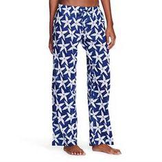 Flora by Rockflowerpaper Women's Woven Sleep Pajama Pant - Starfish Navy