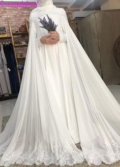 Romantic Long Sleeve Wedding Dress - Eternally Yours Custom Bridals Hijabi Wedding, Muslimah Wedding Dress, Hijab Bride, Muslim Brides, Pakistani Wedding Dresses, Best Wedding Dresses, Bridal Dresses, Wedding Gowns, Muslim Couples