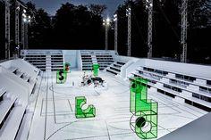 Lacoste set in the Jardin des Tuileries Shop Interior Design, Retail Design, Stage Design, Set Design, Lacoste, Alexandre De Betak, Award Tour, Bureau Betak, Catwalk Design