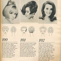 Vintage hairstyle with roller setting pattern.