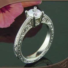 Antique 14k white gold reverse taper mounting <3!!