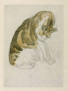 Cat Cleaning Itself | Pencil and watercolour | Gwen John