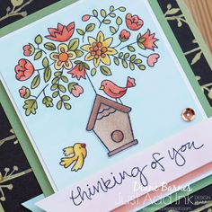 Handmade thinking of you card using Stampin Up Flying Home stamp set & coloured with Stampin Blends alcohol markers. 2018 Occasions Catalogue - Available from 3 January 2018