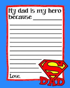 Father's Day is 4 days away. We shared with you our favorite Father's Day Gift Ideas That Kids Can Help Craft last week, so this week we thought we would share our favorite Father's Day Printables. Fathers Day Crafts, Gifts For Father, Happy Fathers Day, Fathers Dat, Father's Day Activities, Superhero Classroom, Classroom Ideas, My Dad My Hero, Daddy Day
