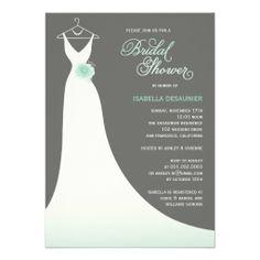 Stylish Elegant White Wedding Gown With Mint Flower on Modern Contemporary Grey Custom Bridal Shower Invite