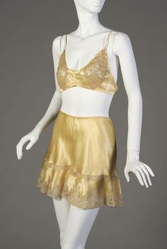 """""""Bra and Panties. American 1934, Pale gold silk and lace, From the trousseau of Sylvia Neiburg West,, Gift of Susan Neiburg Terkel in memory of Sylvia Neiburg West, my beloved Aunt, KSUM 2009.1.17ab"""" - Ooh yes!"""
