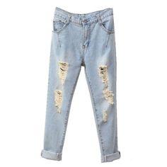 Distressed Cuffed Boyfriend Jeans