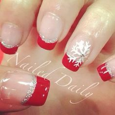 red & silver-tipped french mani with snowflake accent nail