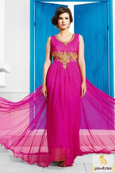 Embellished with resham works and fine embroidery works. Santoon and net fabrics made enhance the dark pink embroidered Anarkali Salwar Suit. #Dresses #EveningGown #BallGown #OnlineDresses