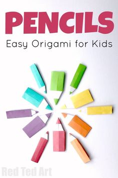 Easy Origami Pencil for Kids. Make this Simple Origami Pencil for Back To School. They make great Paper Pencil Bookmarks or would be fun DIY Lunchbox Note #pencil #papercrafts #origami #backtoschool #bookmarks Paper Crafts Origami, Paper Crafts For Kids, Craft Activities For Kids, Origami Paper, Dollar Origami, Oragami, Paper Crafting, Easy Origami For Kids, Origami Mouse