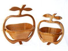 mahogany apple folding basket