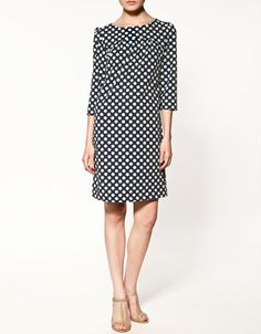 zara navy polka dot dress. want