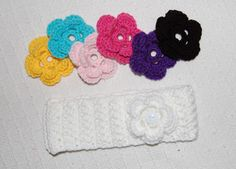 Wide headband with changeable flowers (button center).