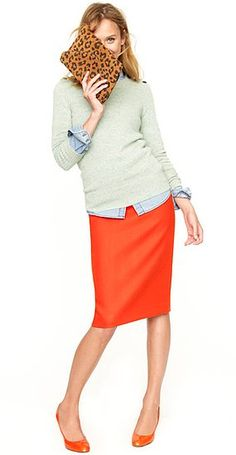 J crew - like the green over the chambray. Not sure about the skirt color.