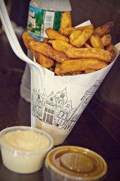 Belgian Fries at Pommes Frites in East Village, NY. ...i WANT some.